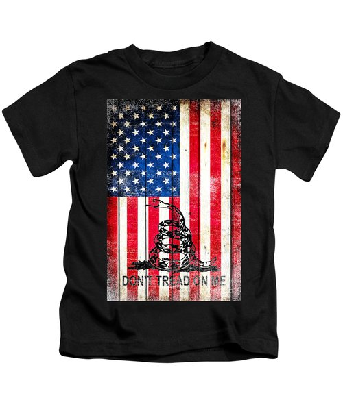 Viper On American Flag On Old Wood Planks Vertical Kids T-Shirt