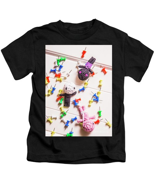 Voodoo Dolls Surrounded By Colorful Thumbtacks Kids T-Shirt