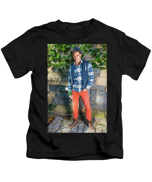 Young Man Waiting For You Kids T-Shirt
