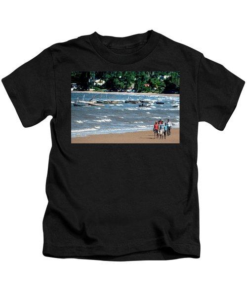 Walking On Ketembe Beach Kids T-Shirt