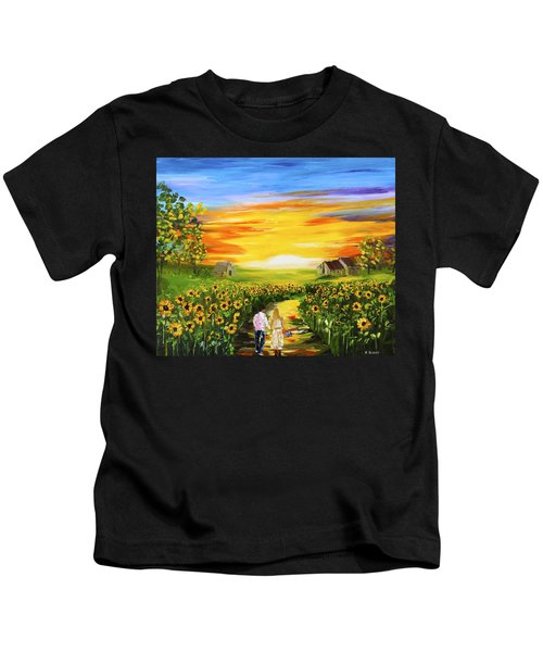 Walking Through The Sunflowers Kids T-Shirt