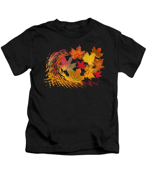 Warm Winds - Autumn Leaves Abstract Kids T-Shirt