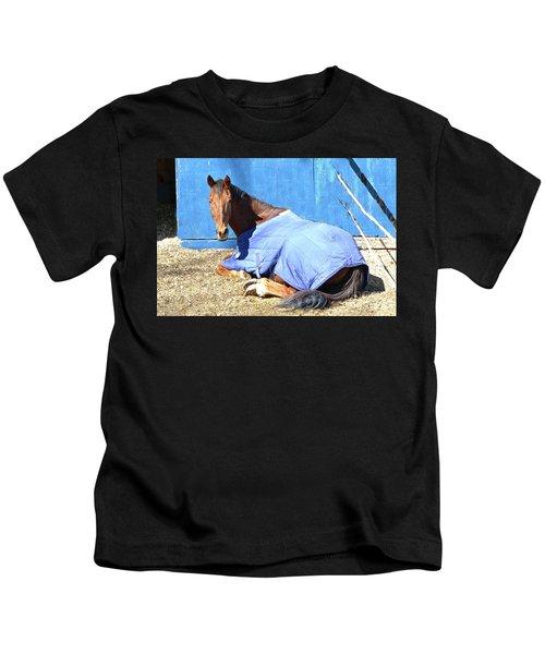 Warm Winter Day At The Horse Barn Kids T-Shirt