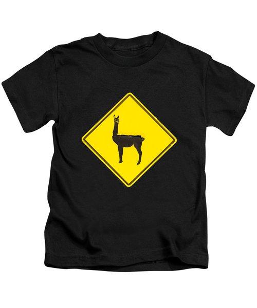 Warning Guanacos Kids T-Shirt by Mirko Chianucci