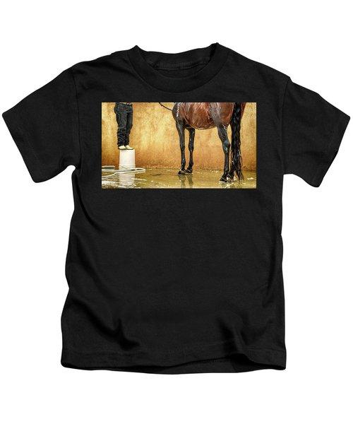 Washing A Horse Kids T-Shirt