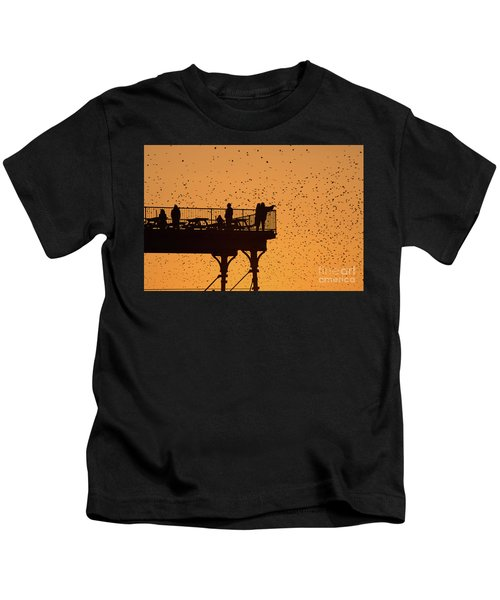 Watching The Sunset And Starlings In Aberystwyth Wales Kids T-Shirt