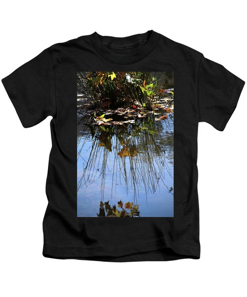 Water Reflection Of Plant Growing In A Stream Kids T-Shirt