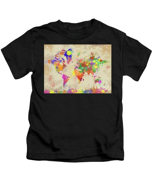 Watercolor World Map On Old Canvas Kids T-Shirt