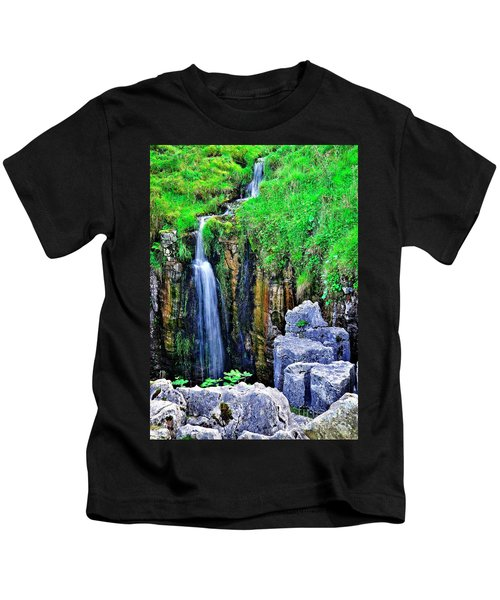 Waterfall At The Buttertubs, Swaledale Kids T-Shirt
