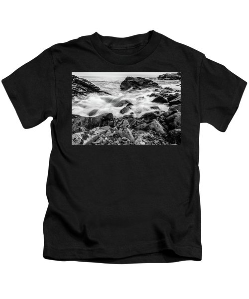 Waves Against A Rocky Shore In Bw Kids T-Shirt