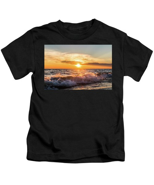 Waves Crashing With Suset Kids T-Shirt