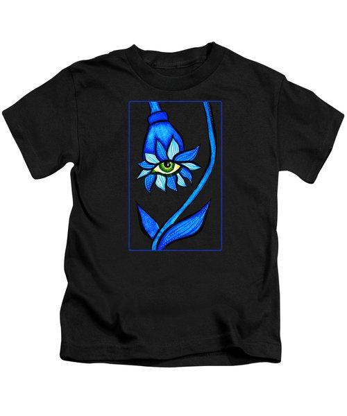Weird Blue Staring Creepy Eye Flower Kids T-Shirt