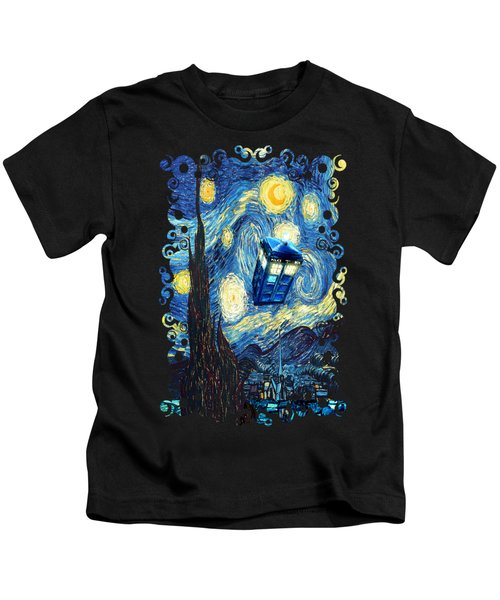 Weird Flying Phone Booth Starry The Night Kids T-Shirt by Three Second