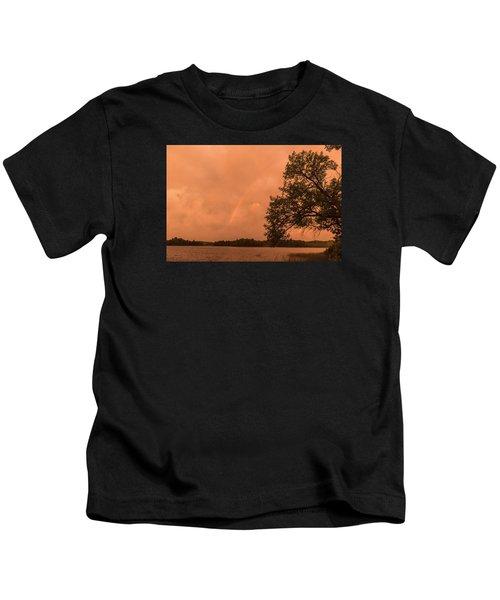 Strange Orange Sunrise With Rainbow Kids T-Shirt