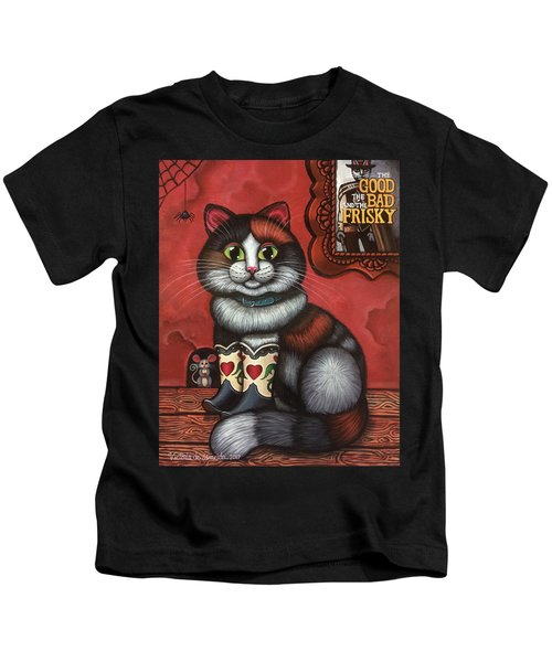 Western Boots Cat Painting Kids T-Shirt