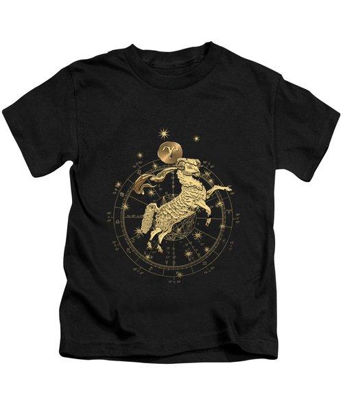 Western Zodiac - Golden Aries -the Ram On Black Canvas Kids T-Shirt