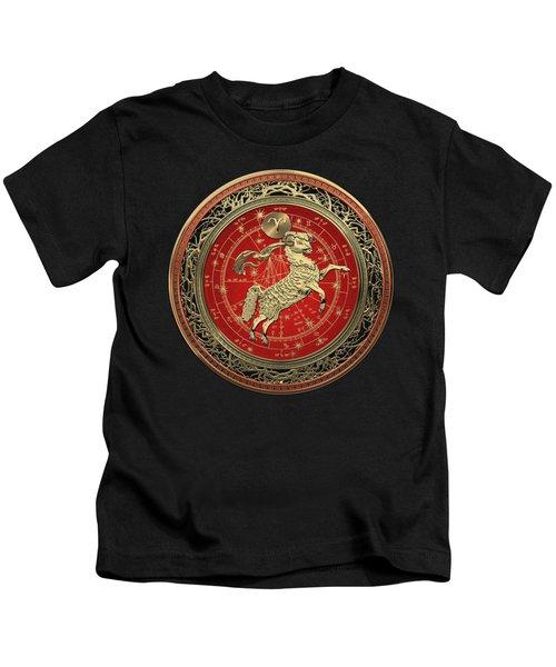 Western Zodiac - Golden Aries -the Ram On Black Velvet Kids T-Shirt