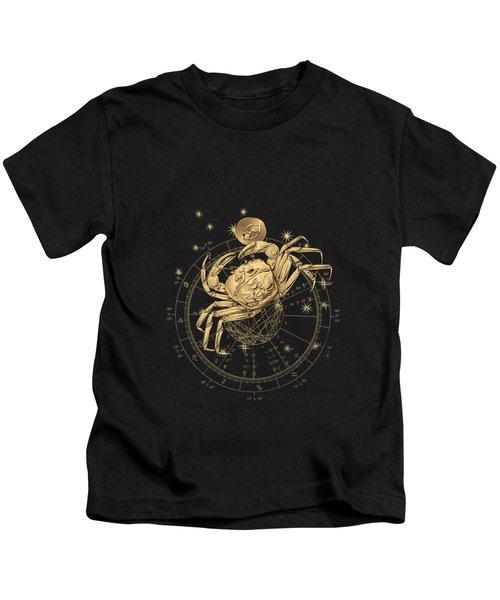 Western Zodiac - Golden Cancer - The Crab On Black Canvas Kids T-Shirt