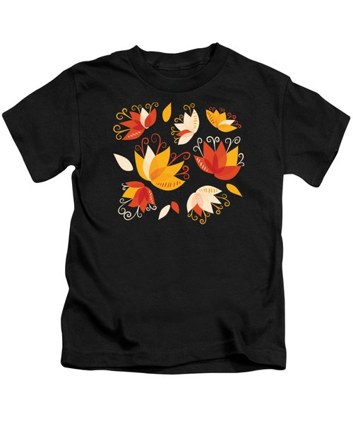 Whimsical Floral Pattern Of Abstract Lilies Kids T-Shirt