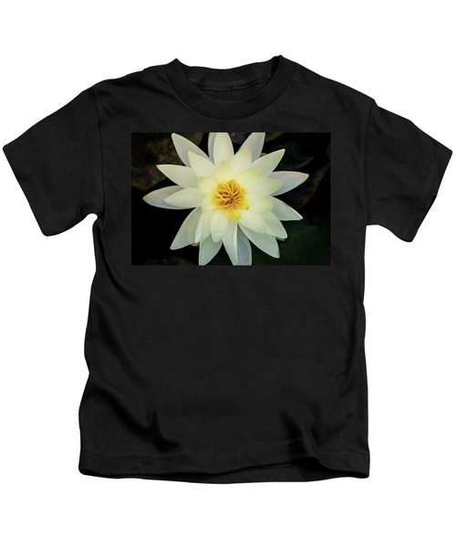 White And Yellow Water Lily Kids T-Shirt