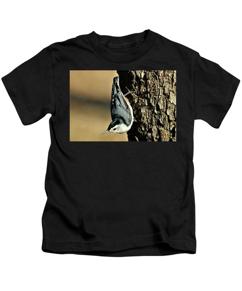 White-breasted Nuthatch On Tree Kids T-Shirt