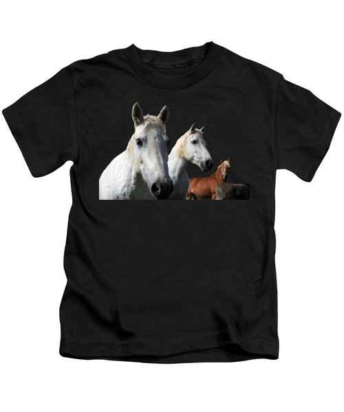 White Camargue Horses On Black Background Kids T-Shirt