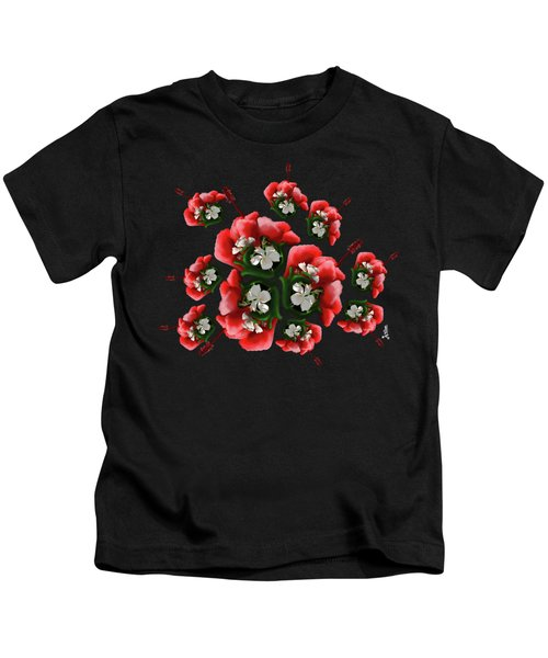 White Full Blossom Malvaceae Hibiscus Flower With Leaves Kids T-Shirt