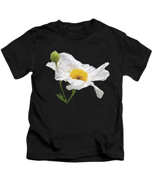 White Matilija Poppy On White Kids T-Shirt