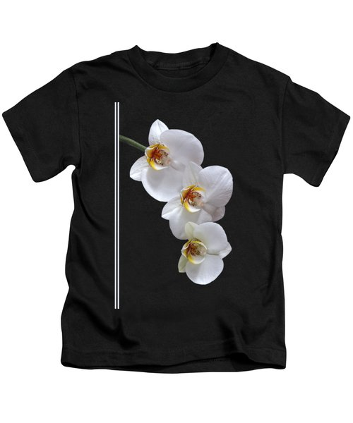 White Orchids On Black Vertical Kids T-Shirt by Gill Billington