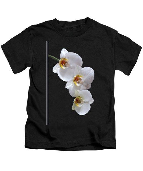 White Orchids On Black Vertical Kids T-Shirt