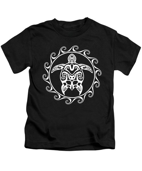 White Tribal Turtle Kids T-Shirt