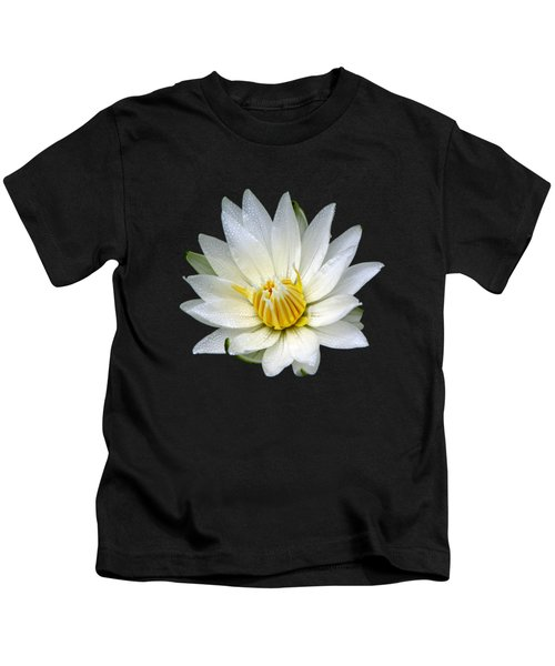 White Waterlily With Dewdrops Kids T-Shirt