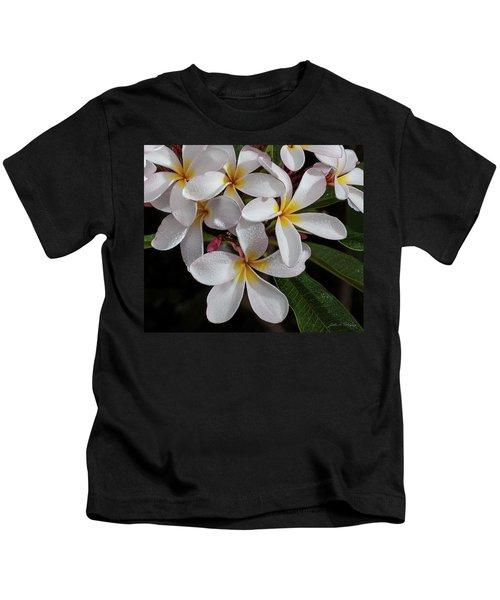 White/yellow Plumerias In Bloom Kids T-Shirt