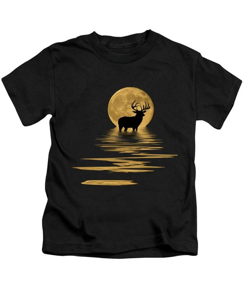 Whitetail Deer In The Moonlight Kids T-Shirt