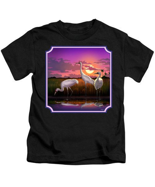Whooping Cranes At Sunset Tropical Landscape - Square Format Kids T-Shirt by Walt Curlee