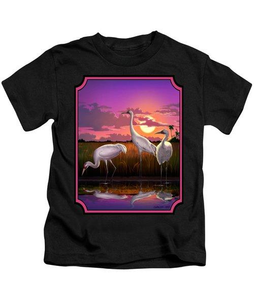 Whooping Cranes Tropical Florida Everglades Sunset Birds Landscape Scene Purple Pink Print Kids T-Shirt by Walt Curlee