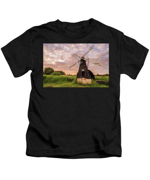 Wicken Wind-pump At Sunset II Kids T-Shirt