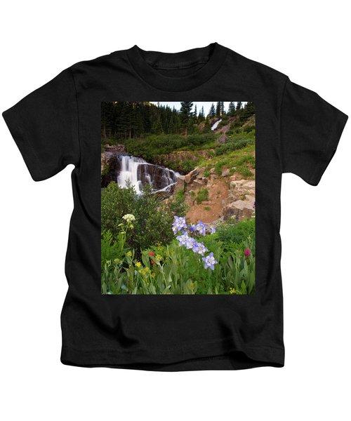 Wild Flowers And Waterfalls Kids T-Shirt