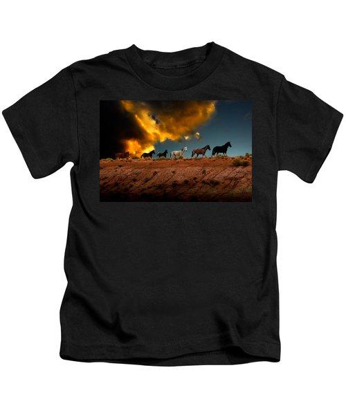 Wild Horses At Sunset Kids T-Shirt