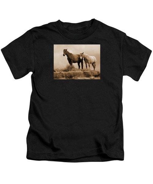 Wild Horses In Western Dakota Kids T-Shirt