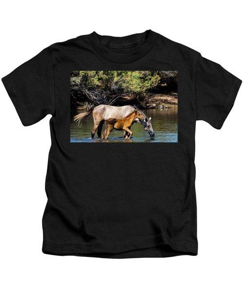 Wild Horses On The Salt River Kids T-Shirt