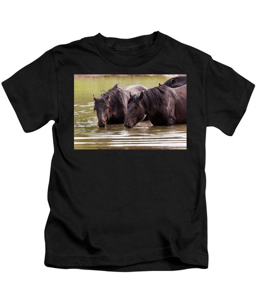 Wild Stallions At The Water Hole Kids T-Shirt