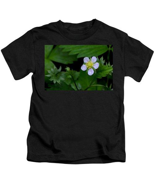 Wild Strawberry Blossom And Raindriops Kids T-Shirt