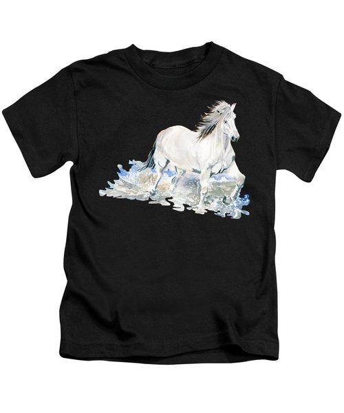 Wild White Horse  Kids T-Shirt