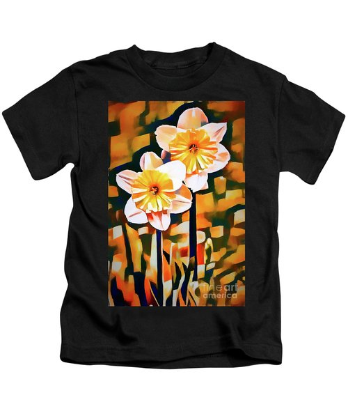 Wildly Abstract Daffodil Pair Kids T-Shirt