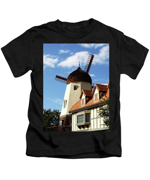 Windmill At Solvang, California Kids T-Shirt