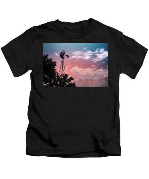 Windmill At Sunset Kids T-Shirt