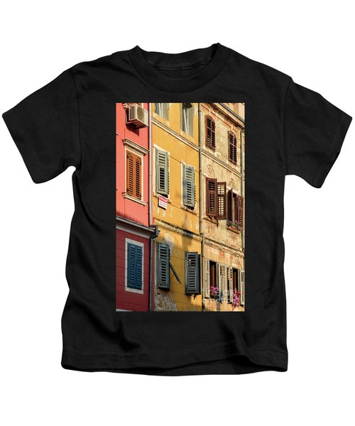 Windows Of Rovinj, Istria, Croatia Kids T-Shirt