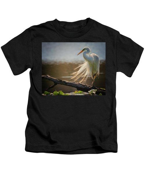 Windy Egret  Kids T-Shirt