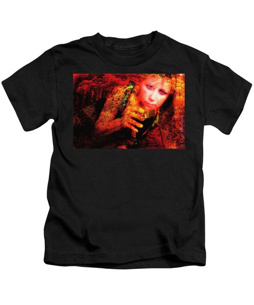 Wine Woman And Fall Colors Kids T-Shirt